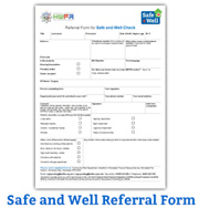 Safe and well referral form button