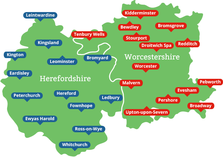 Map of Herefordshire and Worcestershire